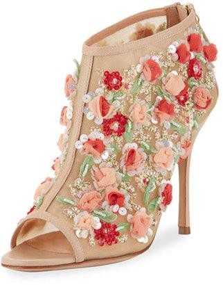 Manolo Blahnik Clizia Mesh Floral Peep-Toe Bootie, Nude $2,135 thestylecure.com