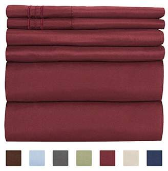 +Hotel by K-bros&Co Queen Size Sheet Set - 6 Piece Set - Hotel Luxury Bed Sheets - Extra Soft - Deep Pockets - Easy Fit - Breathable & Cooling Sheets - Wrinkle Free - Comfy - Burgundy Bed Sheets - Queens Sheets - 6 PC