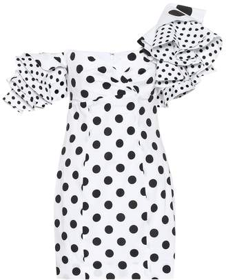 Caroline Constas Polka-dot stretch-cotton minidress