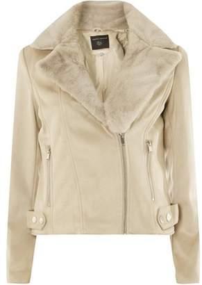 Dorothy Perkins Womens Pebble Suedette Faux Fur Biker Jacket