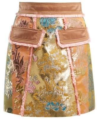 Peter Pilotto A Line Floral Brocade Mini Skirt - Womens - Gold Multi