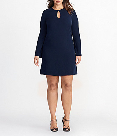 Lauren Ralph LaurenLauren Ralph Lauren Plus Keyhole Neck Bell Sleeve Solid Crepe Trapeze Dress