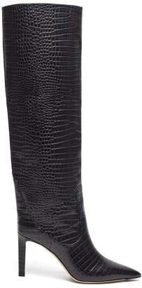 Jimmy Choo Mavis 85 Crocodile Effect Leather Boots - Womens - Dark Grey