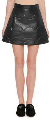 Valentino Scalloped Rockstud Leather A-Line Miniskirt