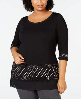 Belldini Belle by Plus Size 3/4-Sleeve Studded Tunic
