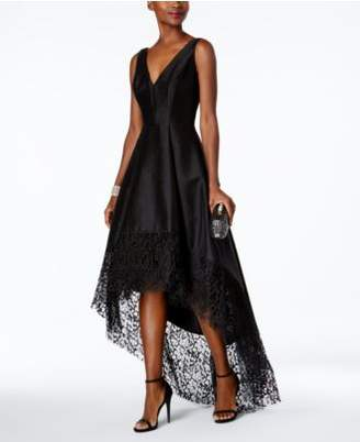 Betsy & Adam Lace-Trim High-Low Gown
