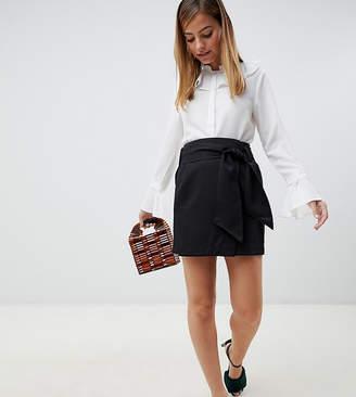 Vero Moda Petite high waist belted mini skirt in black