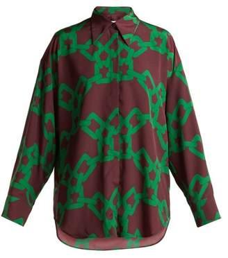 MSGM Chain Print Satin Shirt - Womens - Burgundy