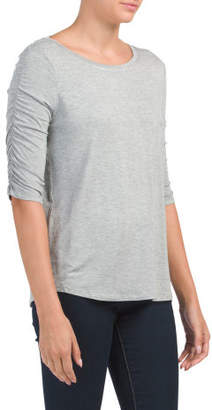 Ruched Elbow Sleeve Scoop Neck Top