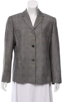 Valentino Plaid Button-Up Blazer
