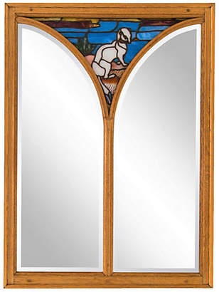 One Kings Lane Vintage Large Oak Mirror with Stained Glass Ermine