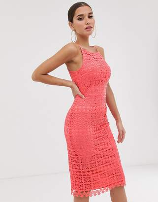 Club L London square neck lace dress with cut out back