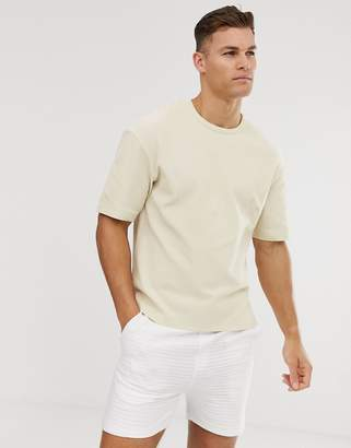 Jack and Jones waffle over sized t-shirt in cream