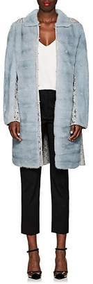Valentino Women's Lace-Inset Mink Fur Coat - Lt. Blue