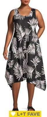 Context Plus Tonal Fronds A-Line Midi Dress