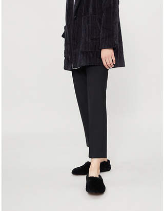 Theory Elasticated-waist mid-rise stretch-wool trousers