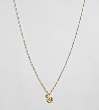 Asos Design Gold Plated Sterling Silver Vintage Style Reversible Icon And Engraved Disc Necklace