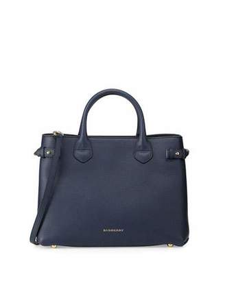 Burberry House Check Horseshoe Leather Satchel Bag, Ink Blue $1,595 thestylecure.com