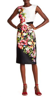 ECI Print Scuba Mesh Inset Dress