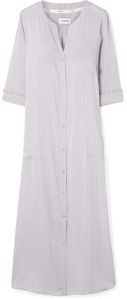 City Vibe Striped Voile Nightdress - Gray