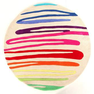 Unitex International Kidding Around-round Squiggle Rug Multi