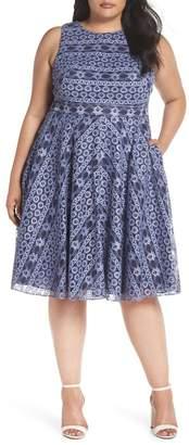 Eliza J Stripe Lace A-Line Dress (Plus Size)