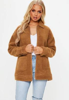 Missguided Rust brown Borg zip through jacket