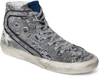Golden Goose Silver Slide Moon Landing Glitter High-Top Sneakers