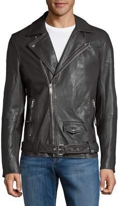 Scotch & Soda Men's Leather Full-Zip Biker Jacket
