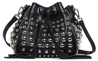 Vicenzo Leather Jolyn Studded Mini Leather Bucket Bag