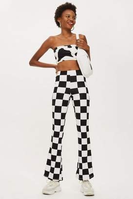 Topshop Checkerboard Flare Trousers