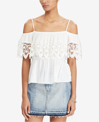 Denim & Supply Ralph Lauren Crochet-Trim Cold-Shoulder Top $98 thestylecure.com