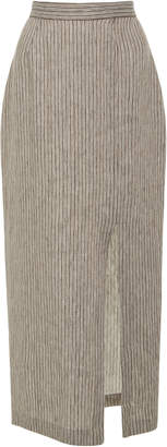 Mara Hoffman High Rise Front Slit Linen Pencil Skirt