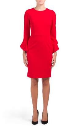 Long Ruffle Sleeve Sheath Dress