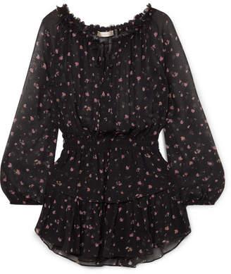 LoveShackFancy Popover Tiered Floral-print Silk-georgette Mini Dress - Black