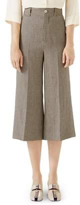 Gucci Houndstooth Wide Leg Crop Linen Pants
