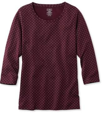 L.L. Bean L.L.Bean Pima Cotton Shaped Jewelneck Tee, Three-Quarter-Sleeve Foulard Print