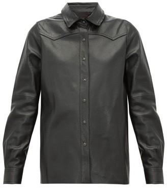 Nili Lotan Juline Snake Effect Leather Shirt - Womens - Black