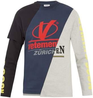 Vetements Long-sleeved patchwork-panel T-shirt