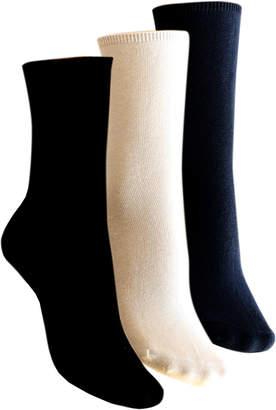 Charnos Hosiery Plain Cotton Comfort Top Crew Socks 2 Pack