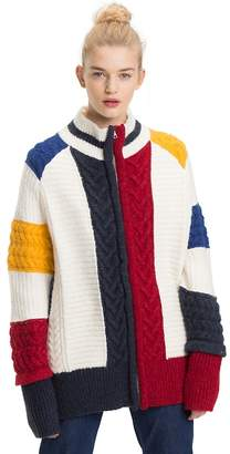 Tommy Hilfiger Oversized Chunky Knit Colour-Blocked Cardigan