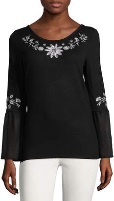 August Silk Women's Embroidered Peasant Top