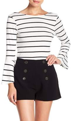 Cupcakes And Cashmere Bordeaux Striped Bell Sleeve Top