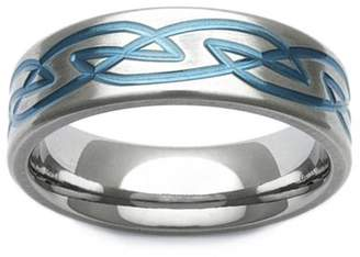 GETi Zirconium Blue Celtic Knot Design 7mm Ring