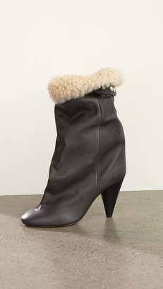 Isabel Marant Lakfee Shearling Wrinkled Boots