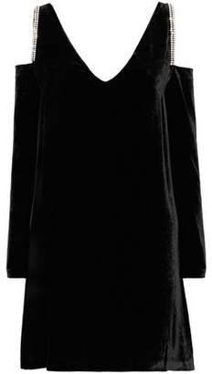 McQ Cold-Shoulder Crystal-Embellished Velvet Mini Dress