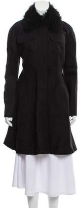 Giambattista Valli Wool Knee-Length Coat w/ Tags Black Wool Knee-Length Coat w/ Tags