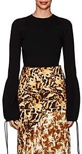 Victoria Beckham Women's Drawstring-Cuff Wool-Blend Puff-Sleeve Sweater - Black