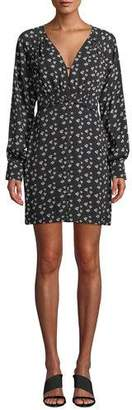 Tanya Taylor Kris Poppy-Print Silk Long-Sleeve Short Dress