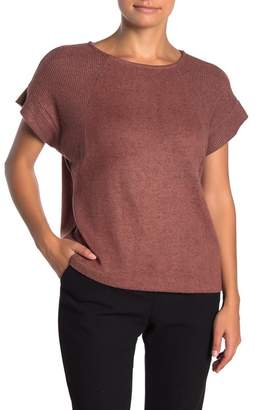 Bobeau Short Sleeve Brushed Knit Pullover (Petite)